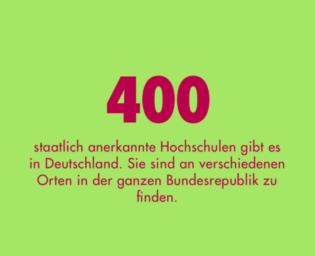 400 staatlich anerkannte Hochschulen